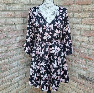 Madewell Floral Fit and Flare Dress Black Pink 6